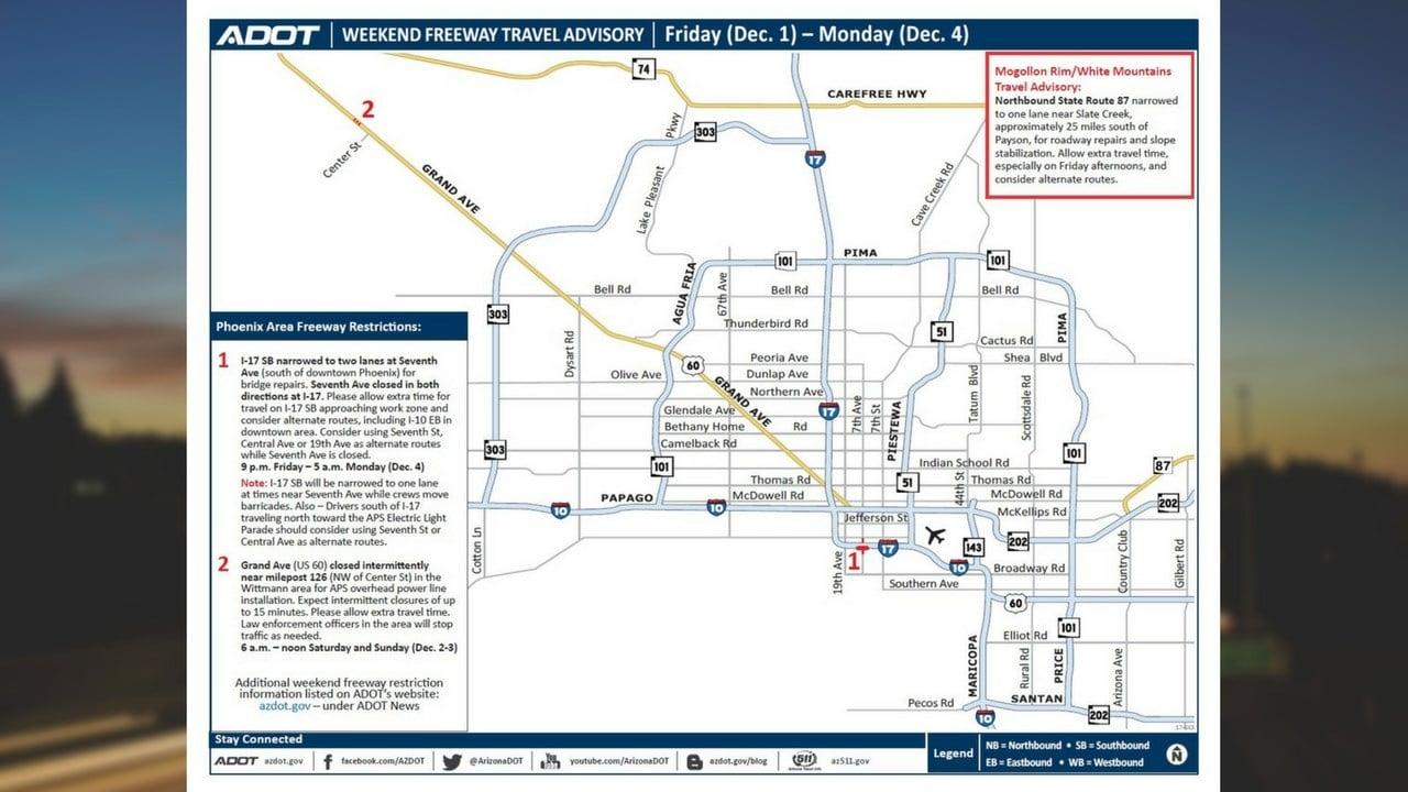 ADOT Weekend Travel Advisory Dec. 1-4 (Source: Arizona Department of Transportation)
