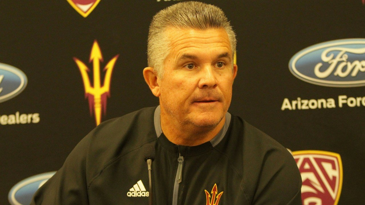 Todd Graham talks to the media about coaching in his last game for Arizona State. (Photo by Jamie Nish/ Cronkite News)