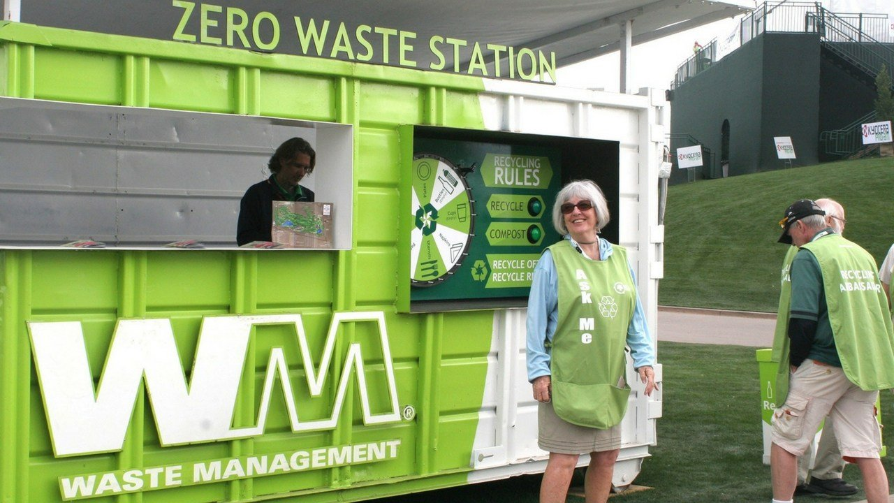 A Zero Waste Station at the Waste Management Phoenix Open allows attendees to learn more about recycling and composting. (Source: Cronkite News)