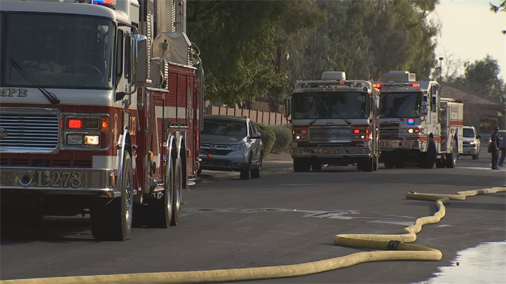 Firefighters from Tempe, Mesa, Phoenix and Chandler all responded to the fire. (Source: 3TV/CBS 5)