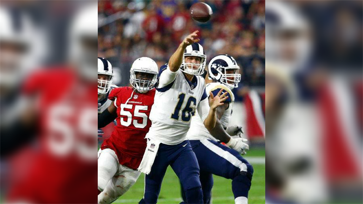 Los Angeles Rams quarterback Jared Goff (16) throws as Arizona Cardinals outside linebacker Chandler Jones (55) pursues during the second half of an NFL football game, Sunday, Dec. 3, 2017, in Glendale, Ariz. (Source: AP Photo/Ross D. Franklin)