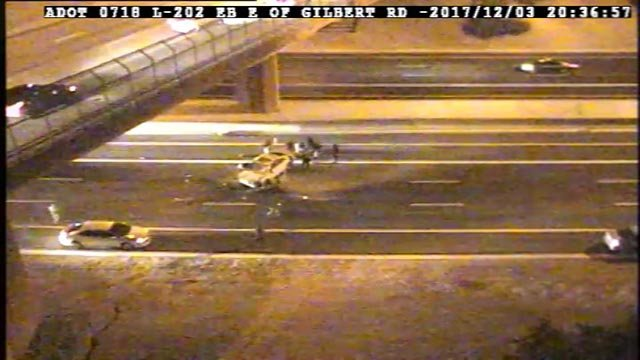 A fatal crash closed eastbound Loop 202 in Mesa for several hours. (Source: ADOT)