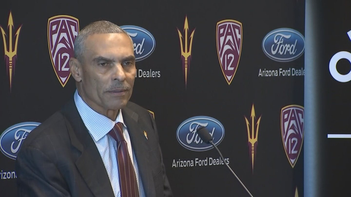 former NFL coach and ESPN analyst Herm Edwards addressed the media for the first time as ASU's new head coach Monday morning. (Source: 3TV/CBS 5)