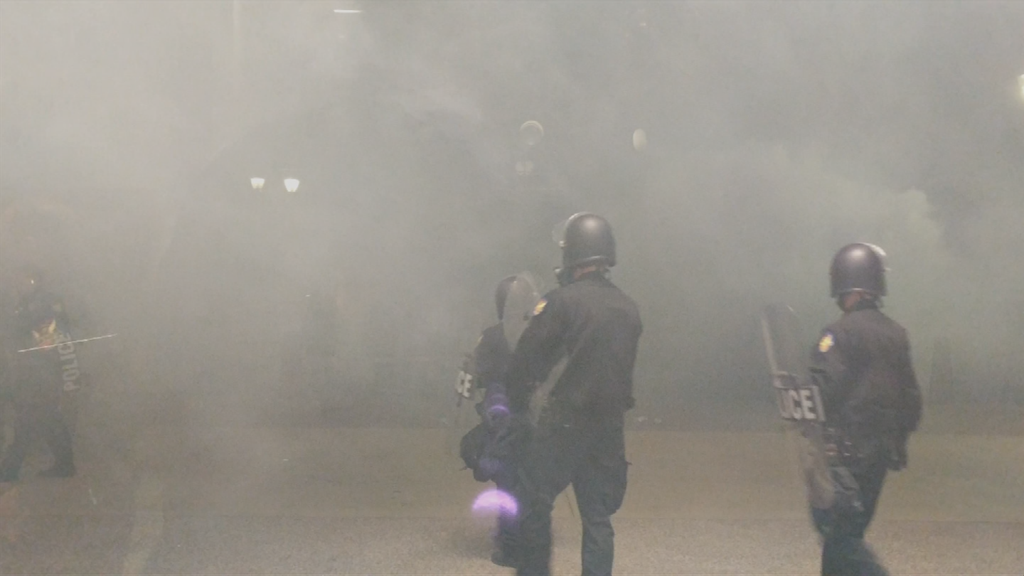 When the president was in Phoenix on Aug. 22 for a rally at the Phoenix Convention Center, a peaceful protest turned unruly and protesters blamed the Phoenix Police Department for starting it. (Source: 3TV/CBS 5)