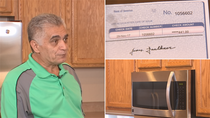 Mario Perfetti said he received a check to resolve his claim over a broken microwave. (Source: 3TV)