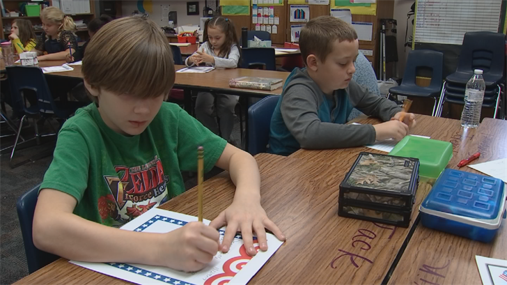 Fourth-graders at Sirrine Elementary School in Chandler are writing letters to troops overseas. (Source: 3TV/CBS 5)