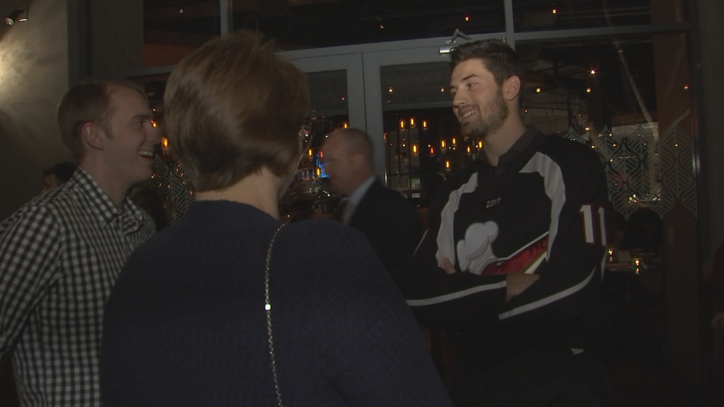 """The Coyotes team was at the Olive and Ivy restaurant for their """"Celebrity Waiters Gala."""" (Source: 3TV/CBS 5)"""