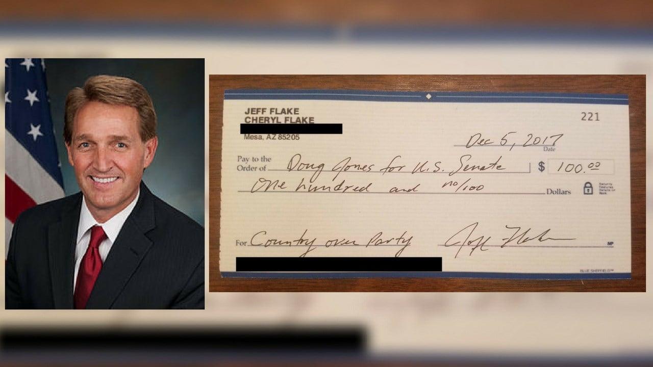 GOP Sen. Jeff Flake writes check to Democrat opposing Roy Moore. (Source: Sen. Flake)