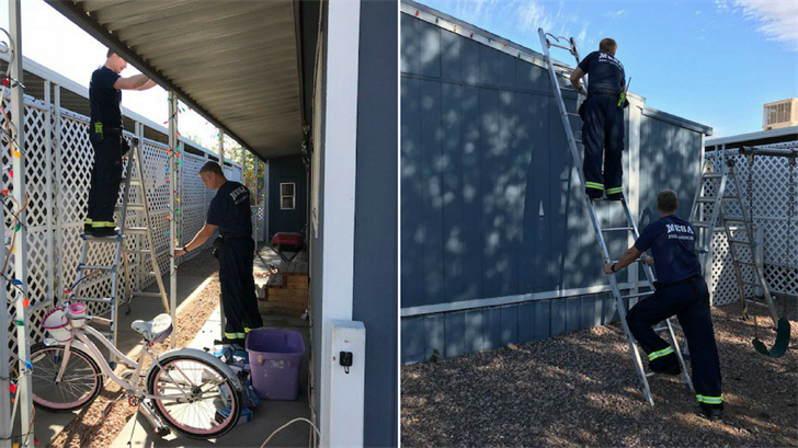 Firefighters finished decorating a house after a father fell from a ladder. (Source: Mesa Fire & Medical Dept.)