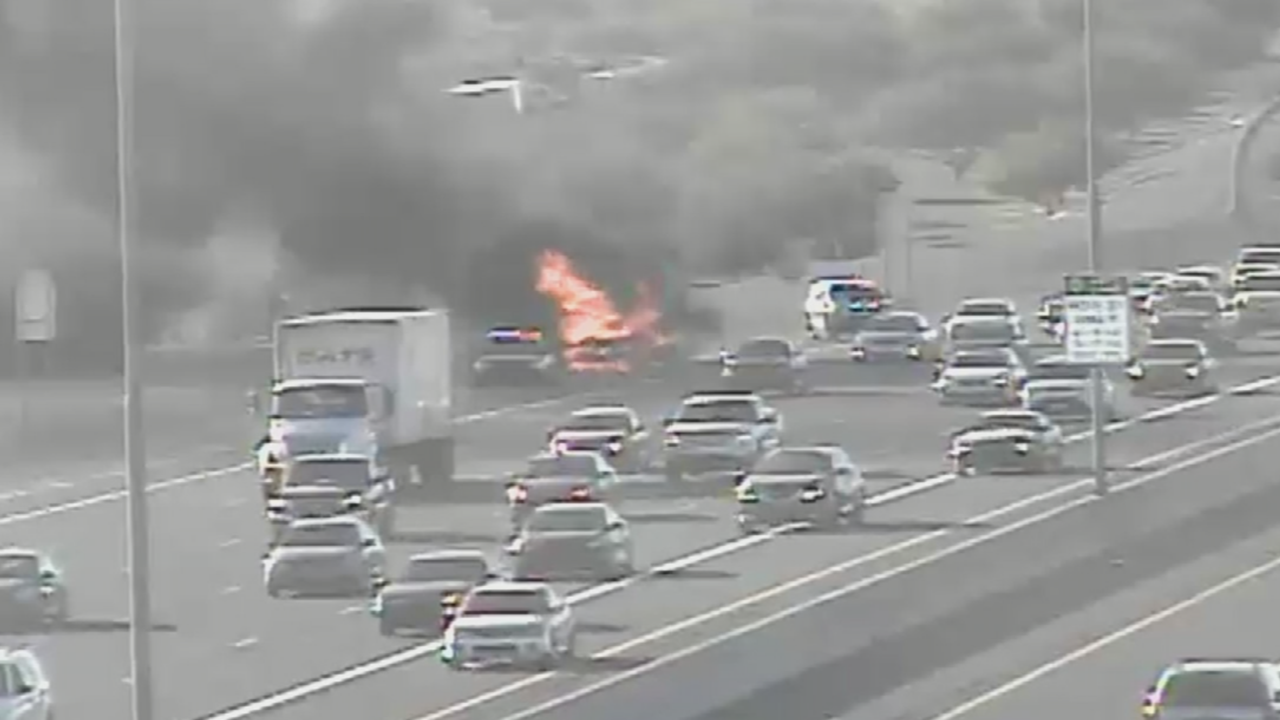 A car went up in flames on the U.S. 60 in Mesa. (Source: ADOT)