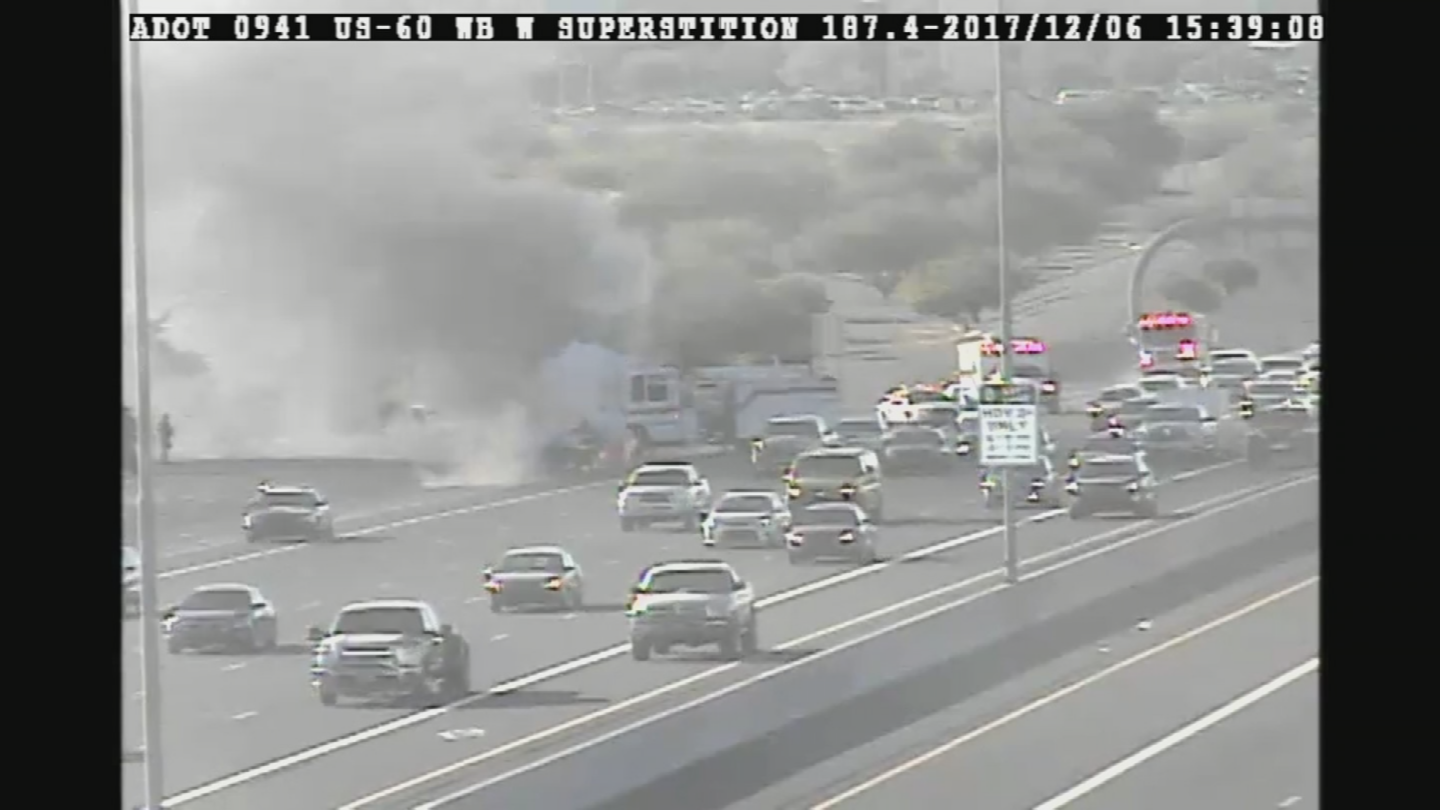 Crews put out the fire with no injuries. (Source: ADOT)