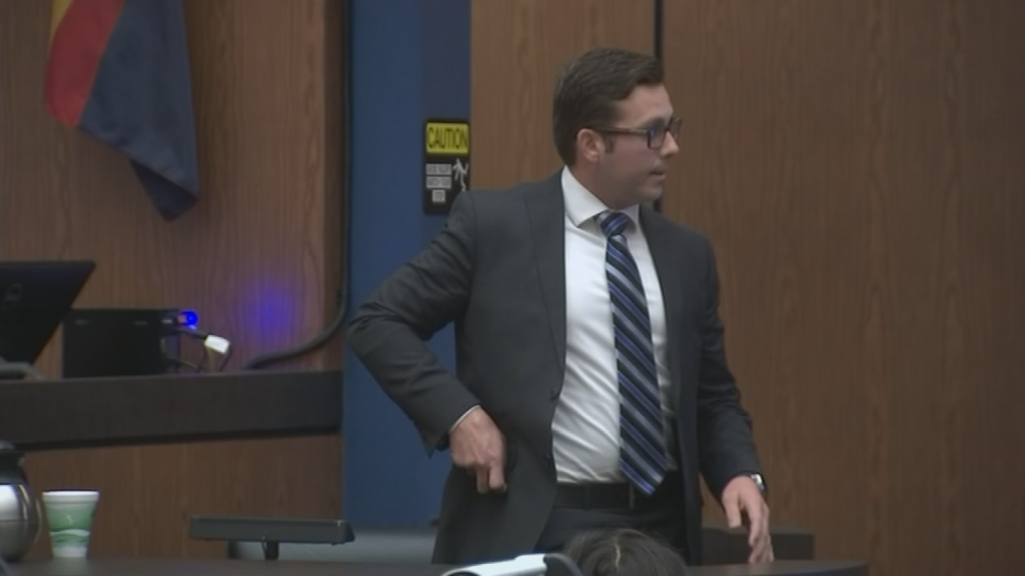 The 27-year-old Brailsford has testified about his split-second decision to shoot the unarmed man after responding to a call that someone at the hotel was pointing a gun out of a window. (Source: Pool)
