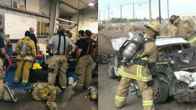 Firefighters routinely work on staying in shape with training that goes beyond running or doing situps –– think of punching a hole in a ceiling or carrying 100 pounds up the stairs. (Source: Sydney Idenberg/Cronkite News)