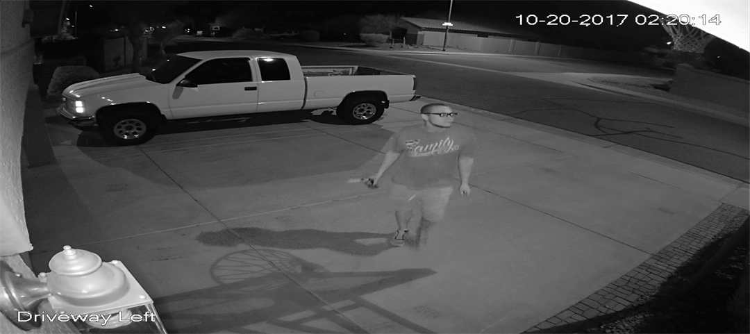 Police believe this man started a fire at a pickup truck in the driveway and days later fired shots at this home. (Source: Peoria Police Department)