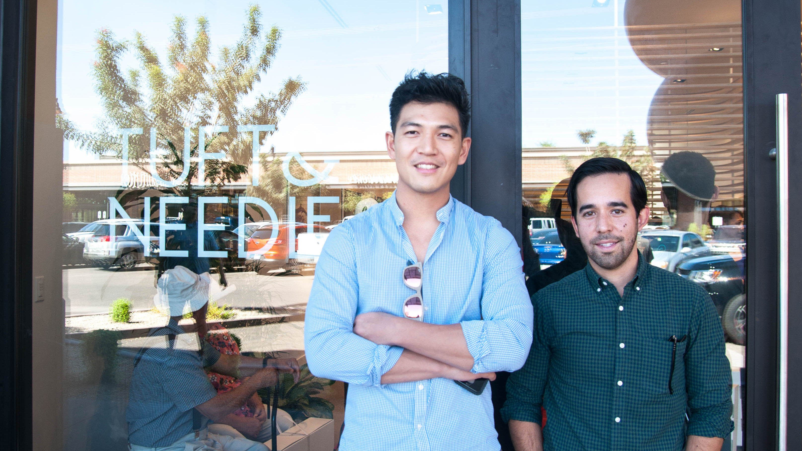 Tuft & Needle co-founder Daehee Park, left, with Chief Operations Officer Nicholas Arambula outside the Gilbert retail location of their company. (Photo by Ashley Ballard/Cronkite News)