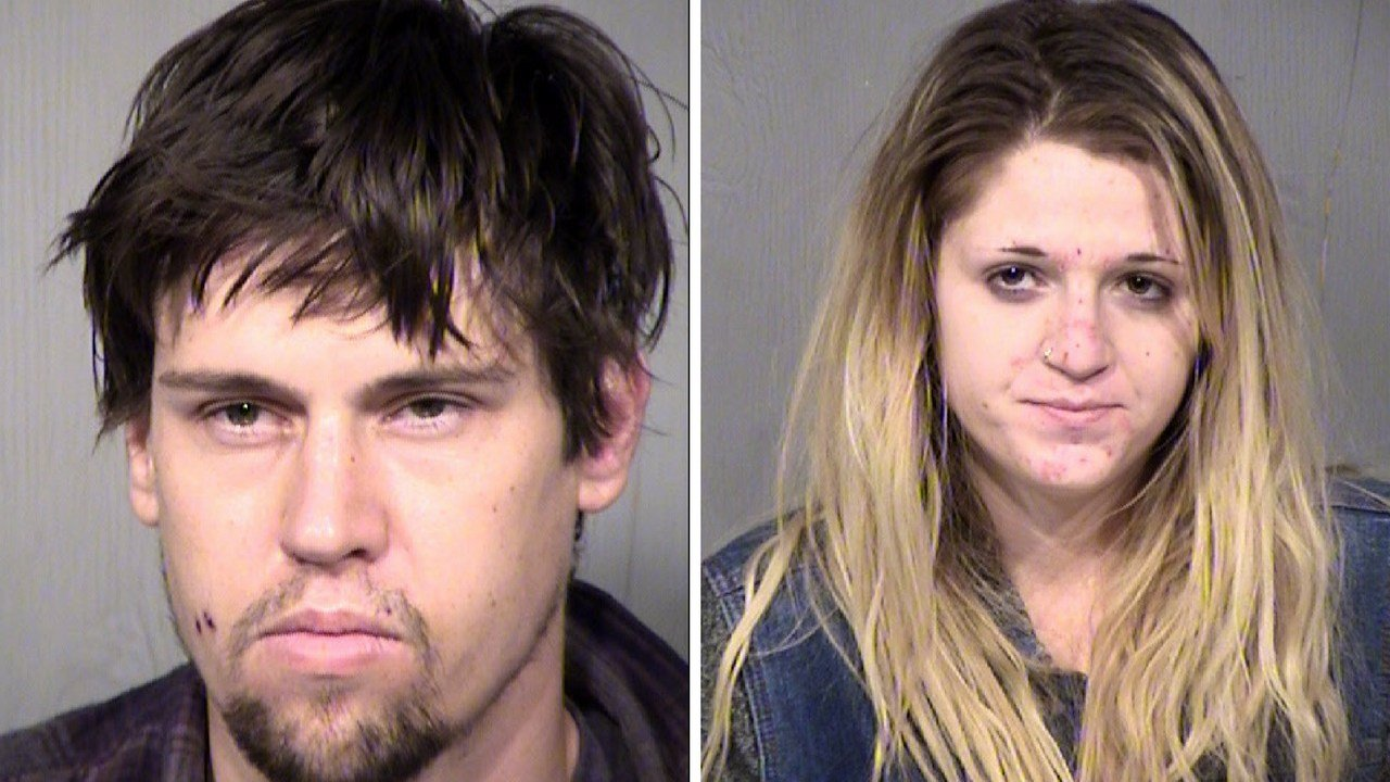 Mark Soldevere, 28 (left) and Tierra Spear, 23 arrested for stealing Christmas lawn decorations from homes in Phoenix. (Source: Maricopa County Sheriff's Office)