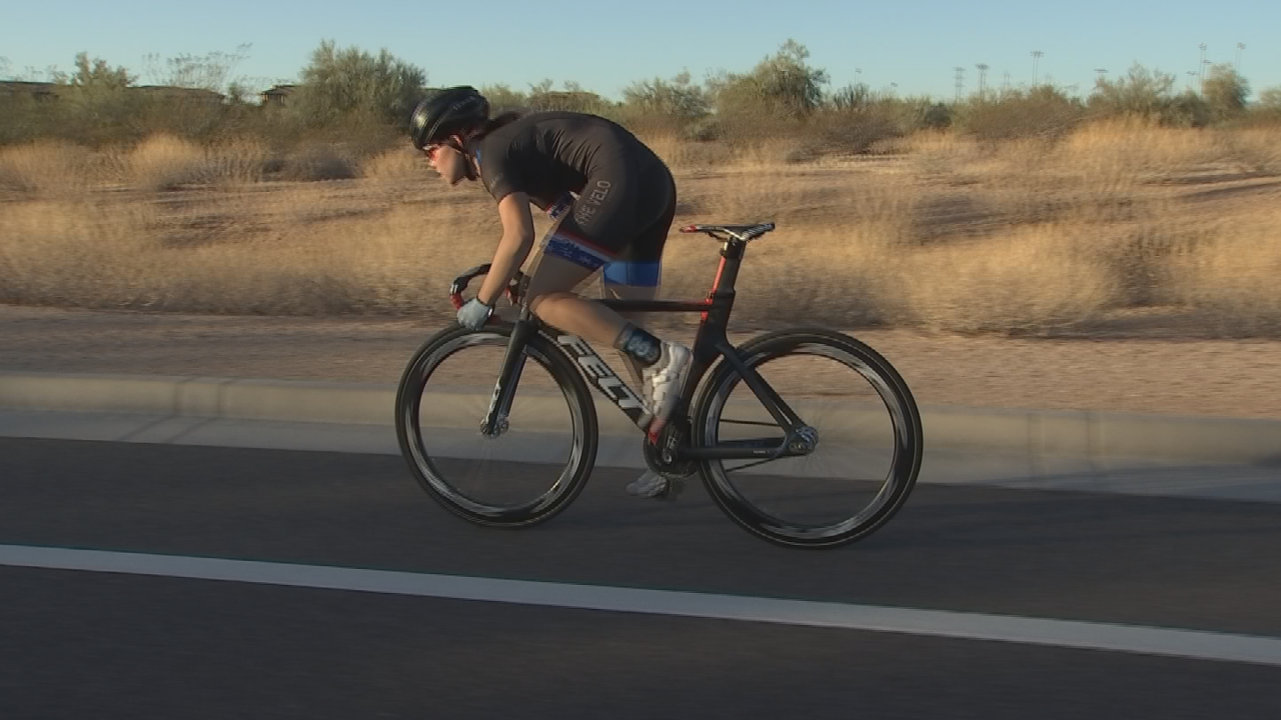 She uses a road in Scottsdale to train for indoor track racing.(Source: 3TV/CBS 5)