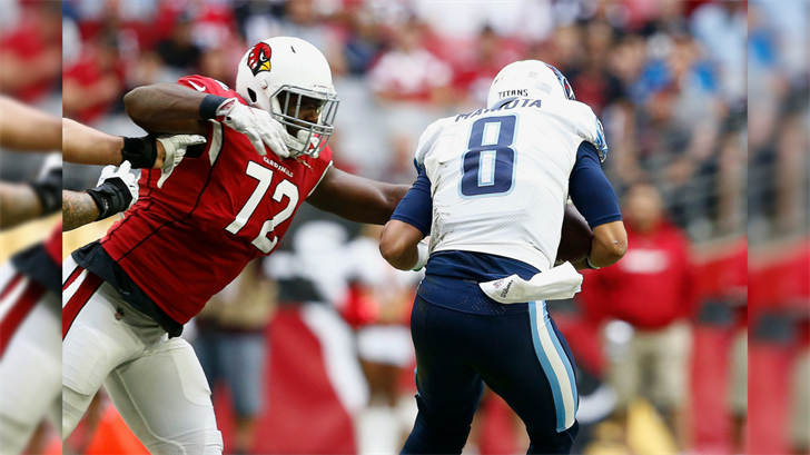 Arizona Cardinals defensive tackle Olsen Pierre (72) sacks Tennessee Titans quarterback Marcus Mariota (8) during the first half of an NFL football game, Sunday, Dec.10, 2017, in Glendale, Ariz. (Source: AP Photo/Ralph Freso)