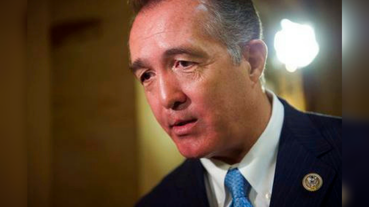 FILE - In this March 24, 2017 file photo, Rep. Trent Franks, R-Ariz. speaks with a reporter on Capitol Hill in Washington, as the House nears a vote on their health care overhaul. (AP Photo/Cliff Owen, File)