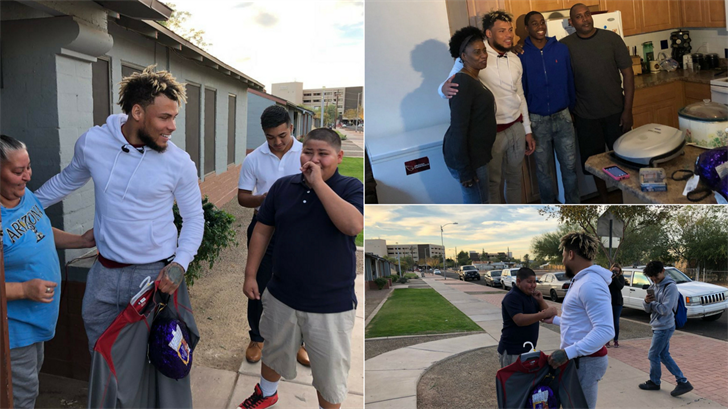 Arizona Cardinals safety Tyrann Mathieu surprised 10 families with Christmas gifts and food Monday afternoon. (Source: 3TV/CBS 5)