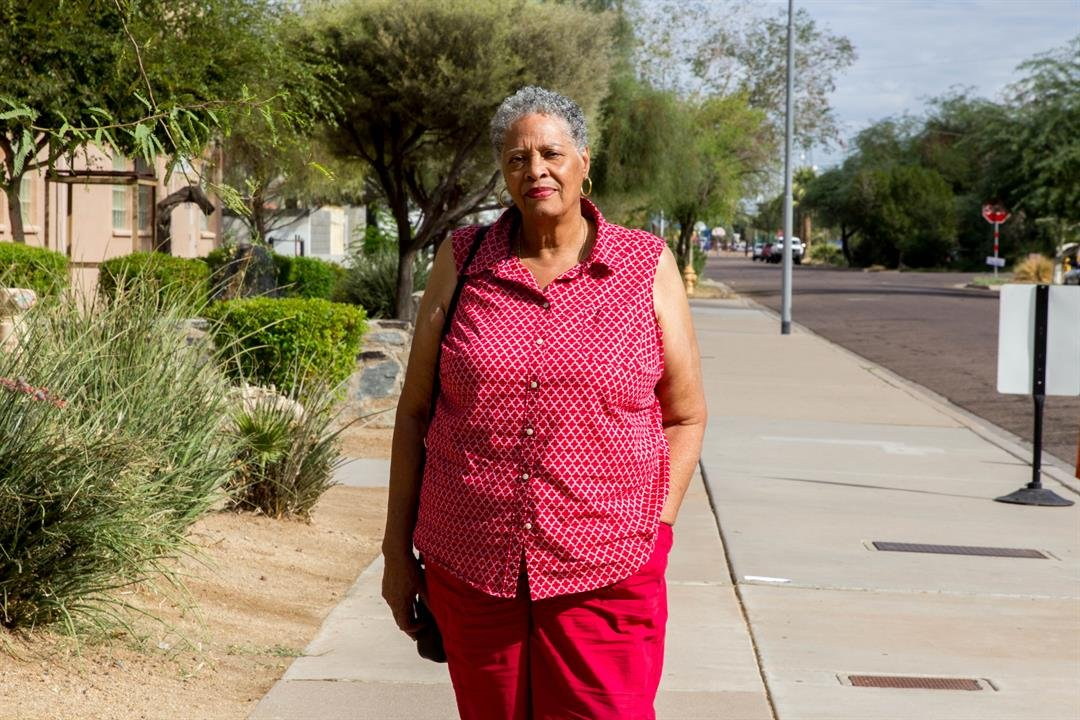 """If you're trained to shoot and kill, that's what you're going to get in your community,"" said Vicky Daviss-Mitchell, who has lived in Phoenix since the 1950s. (Photo by Andrea Jaramillo/Cronkite News)"
