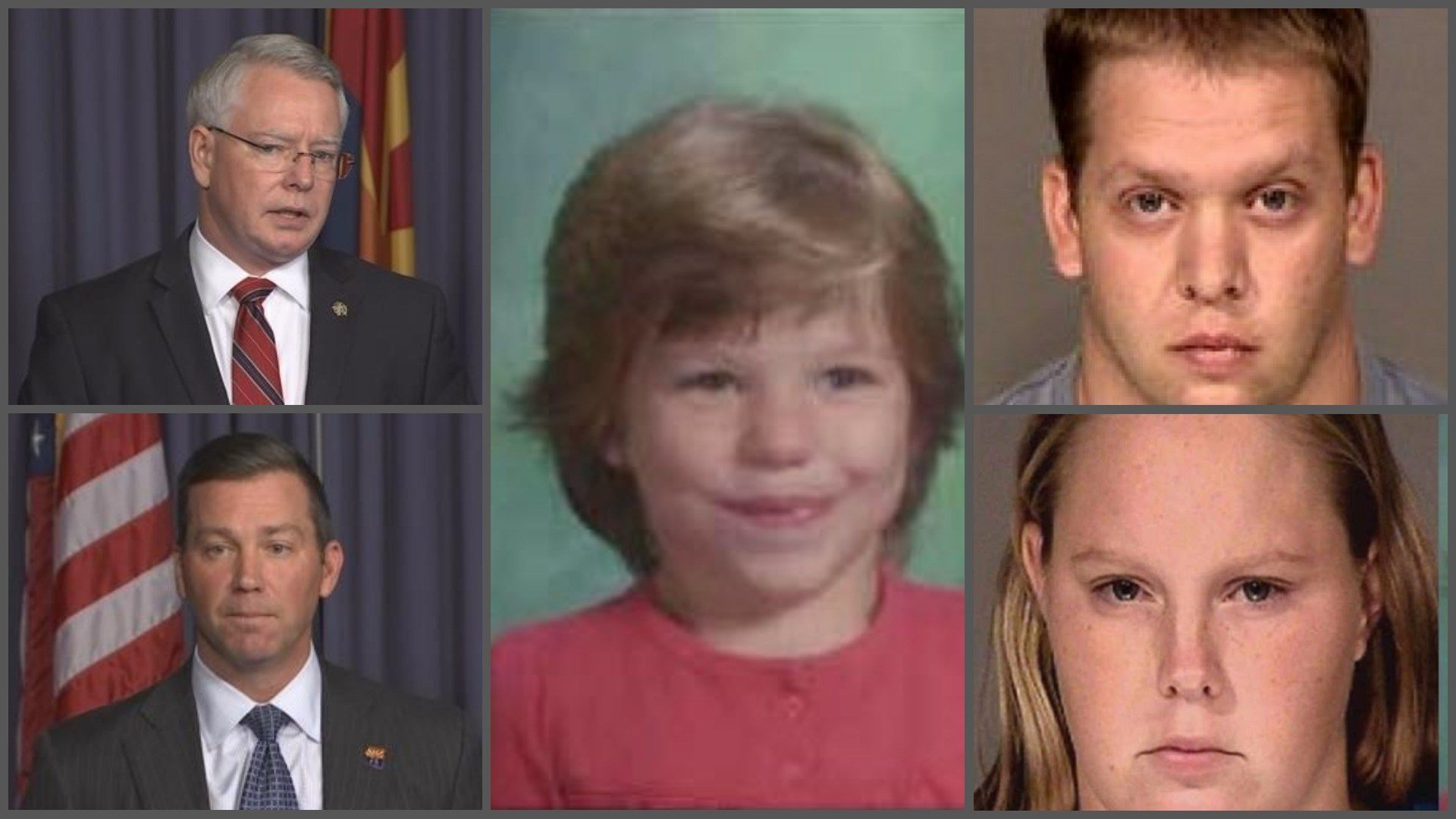 Maricopa County Attorney Bill Montgomery (top left), Dept. of Child Safety Director Gregory McKay (bottom left), Ame Deal (middle), John Allen (top right), Sammantha Allen (bottom right) (Source: 3TV/CBS 5)