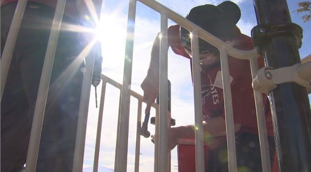 The Arizona Coyotes teamed up with KaBOOM! to install a new playground at Larry C. Kennedy School in Phoenix. (Source: 3TV/CBS 5)