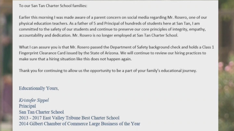 San Tan Charter School sent parents a letter about Rosero's firing. (Source: 3TV/CBS 5)