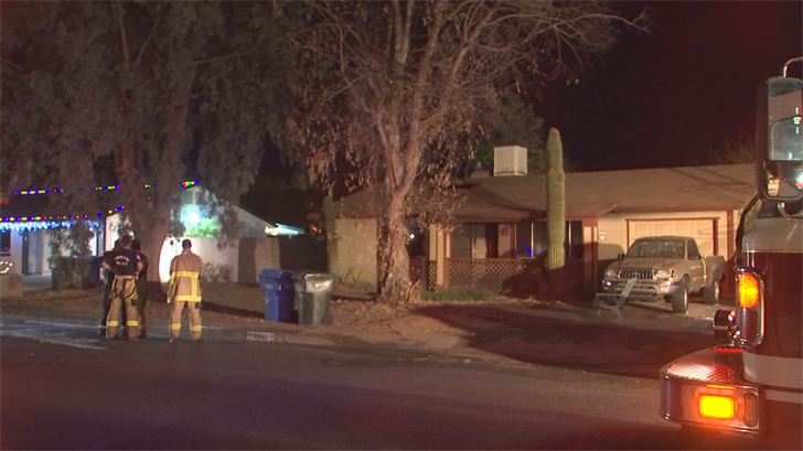 Phoenix firefighters extinguished a house engulfed in flames late Tuesday night. Luckily, everyone got out safely, fire officialssaid. (Source: 3TV/CBS 5)