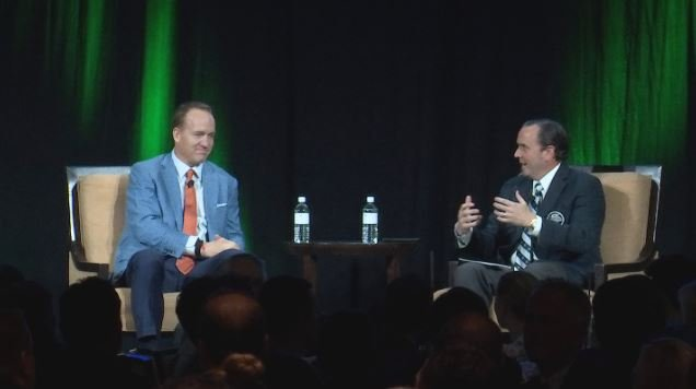 Sports worlds collided as D-backs president Derrick Hall interviewed NFL legend Peyton Manning at the WM Phoenix Open Tee-Off Luncheon. (Source: 3TV/CBS 5)