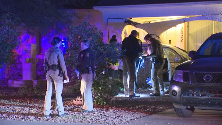 The Department of Public Safety has two suspects in custody after a brief pursuit ended with a car going through the pillar of a Phoenix home early Thursday morning. (Source: 3TV/CBS 5)