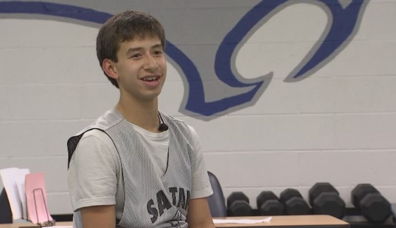 San Tan Foothills sophomore Kevin Tucker discusses his game winning shot to beat Franklin