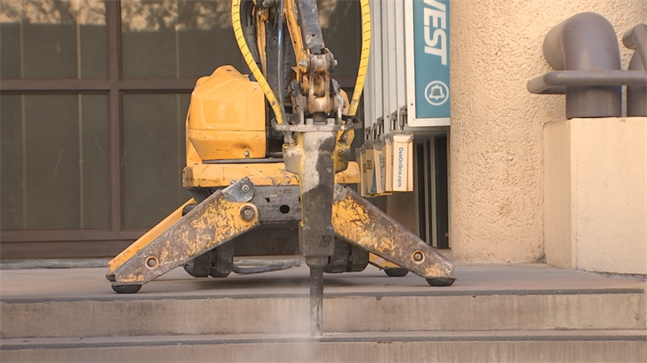 During the ceremony, county leaders used a robot to demolish parts of the former jail. (Source: 3TV/CBS 5)