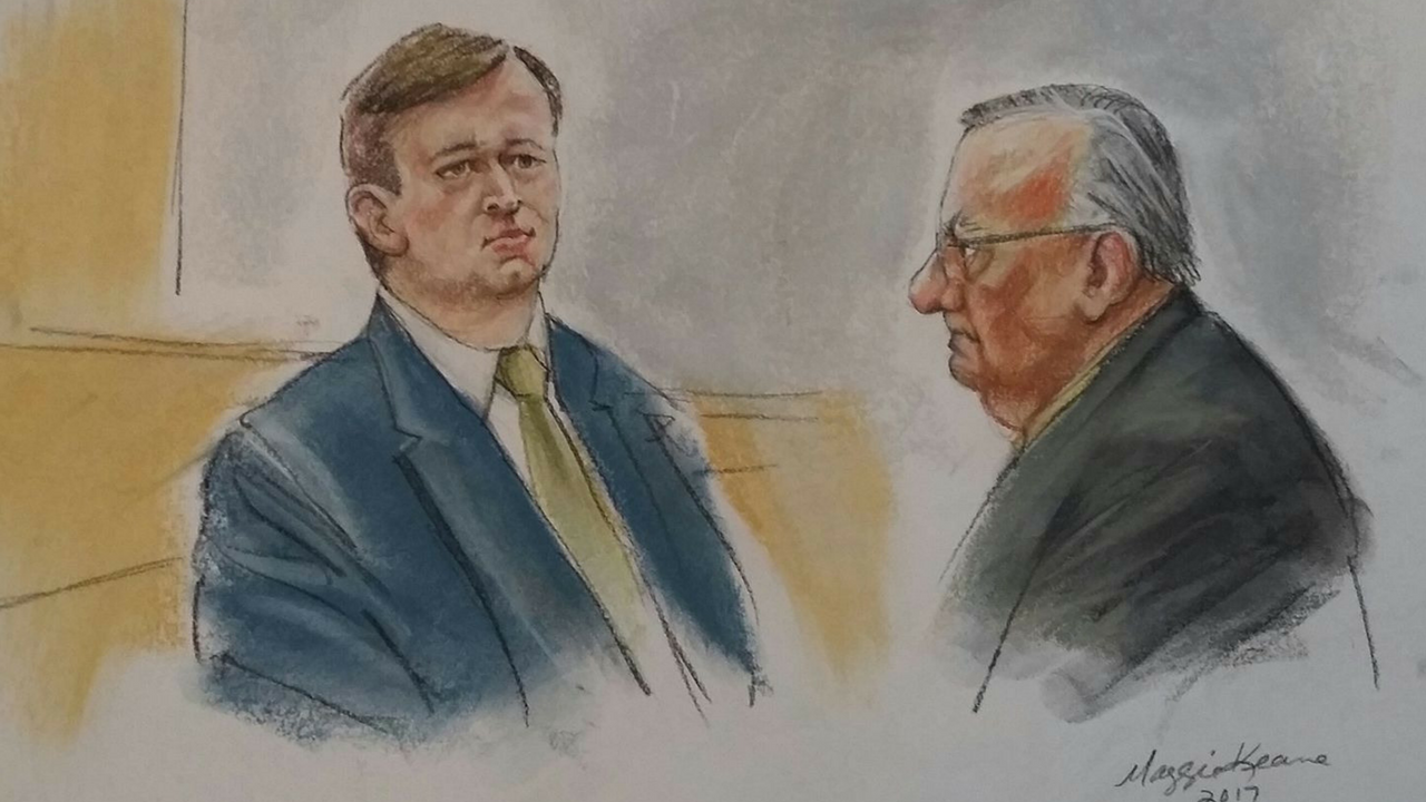 Court sketches of Austin Flake and Joe Arapio when they were in court. (Source: Maggie Keane)