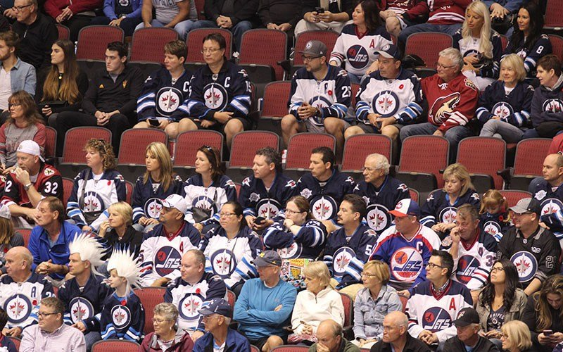 Winnipeg had a strong representation of fans at Gila River Arena recently. The Coyotes hope has their franchise wins more games, their fan base will grow stronger. (Photo by Jamie Nish/Cronkite News)