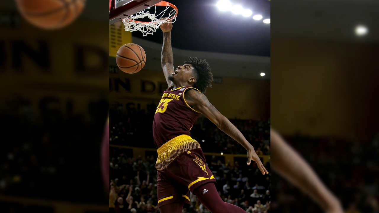 Arizona State forward Romello White (23) dunks against Vanderbilt in the second half during an NCAA college basketball game, Sunday, Dec 17, 2017, in Tempe, Ariz. Arizona State defeated Vanderbilt 76-64. (Source: AP Photo/Rick Scuteri)