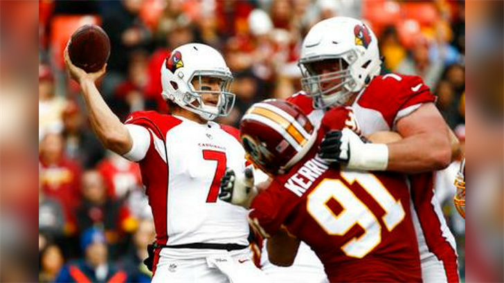 Arizona Cardinals quarterback Blaine Gabbert (7) passes the ball during the first half of an NFL football game against the Washington Redskins in Landover, Md., Sunday, Dec 17, 2017. (Source: AP Photo/Patrick Semansky)