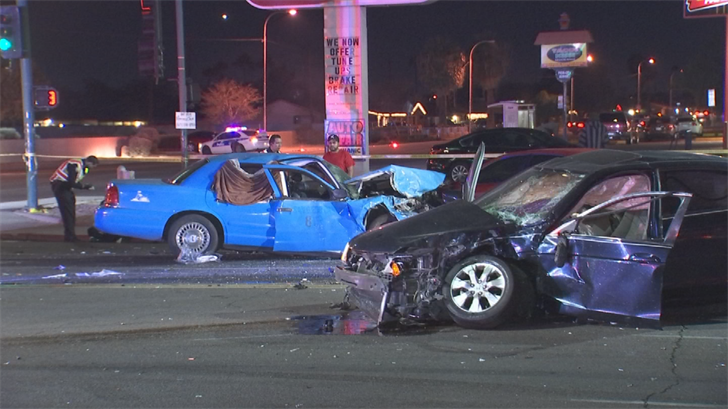 The Phoenix Police Department said a red-light runner was the cause of a four-vehicle accident that sent six people to the hospital late Sunday night in Phoenix. (Source: 3TV/CBS 5)