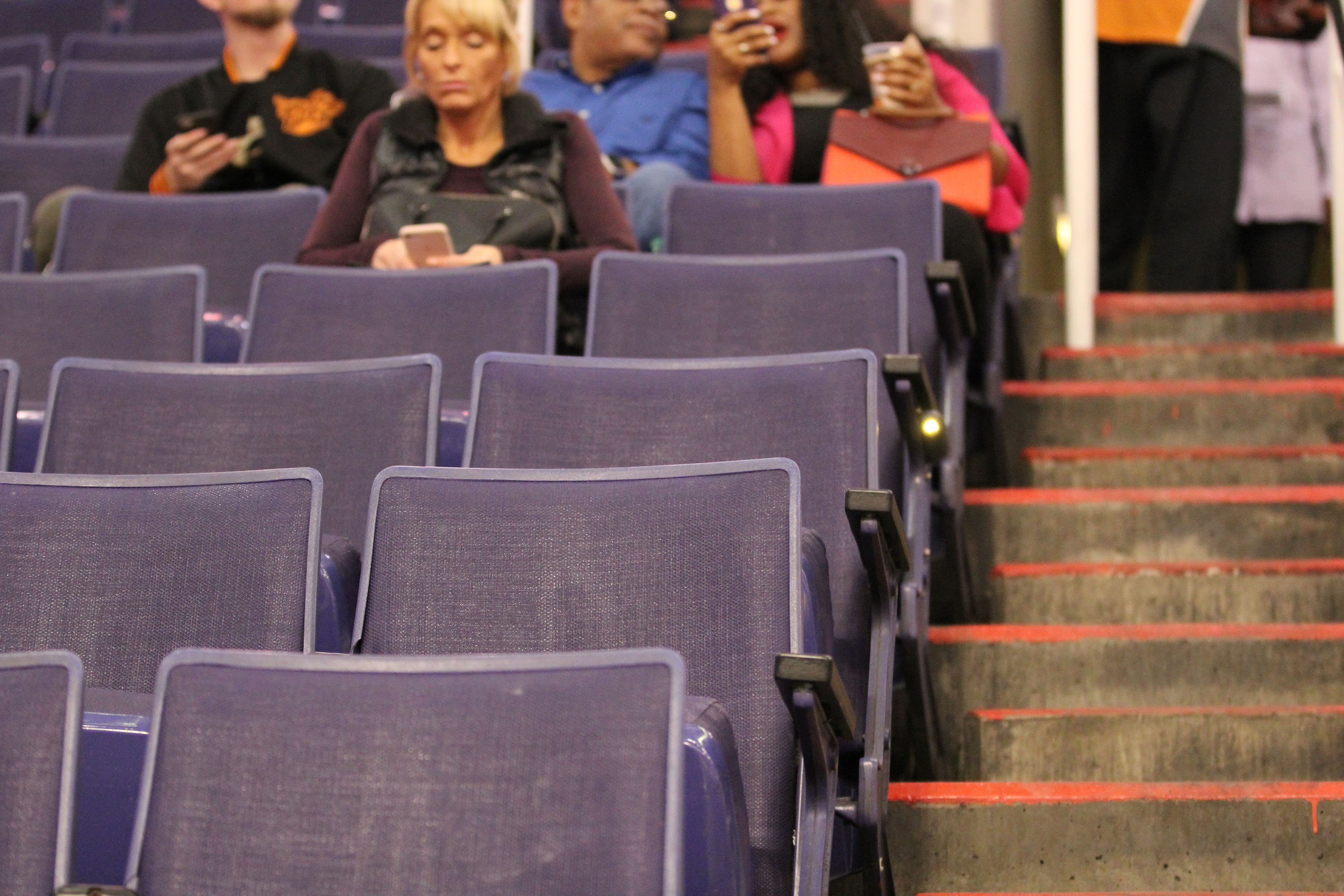 The fans who filled this seat — section, 113, row 15, seat 12 — at Talking Stick Resort Arena during four nights of a recent Suns homestand were an interesting cross section. (Photo by Jamie Nish/ Cronkite News)