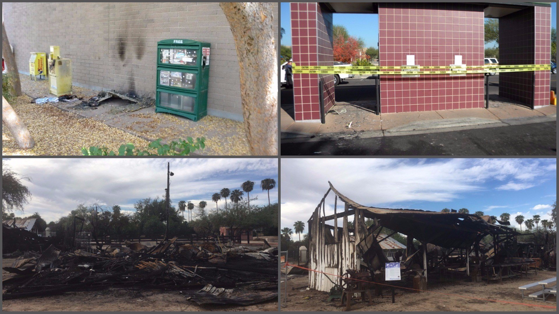 Two fires were set in December (top) after a series of fires in September (bottom). (Source: Glendale Police Department)