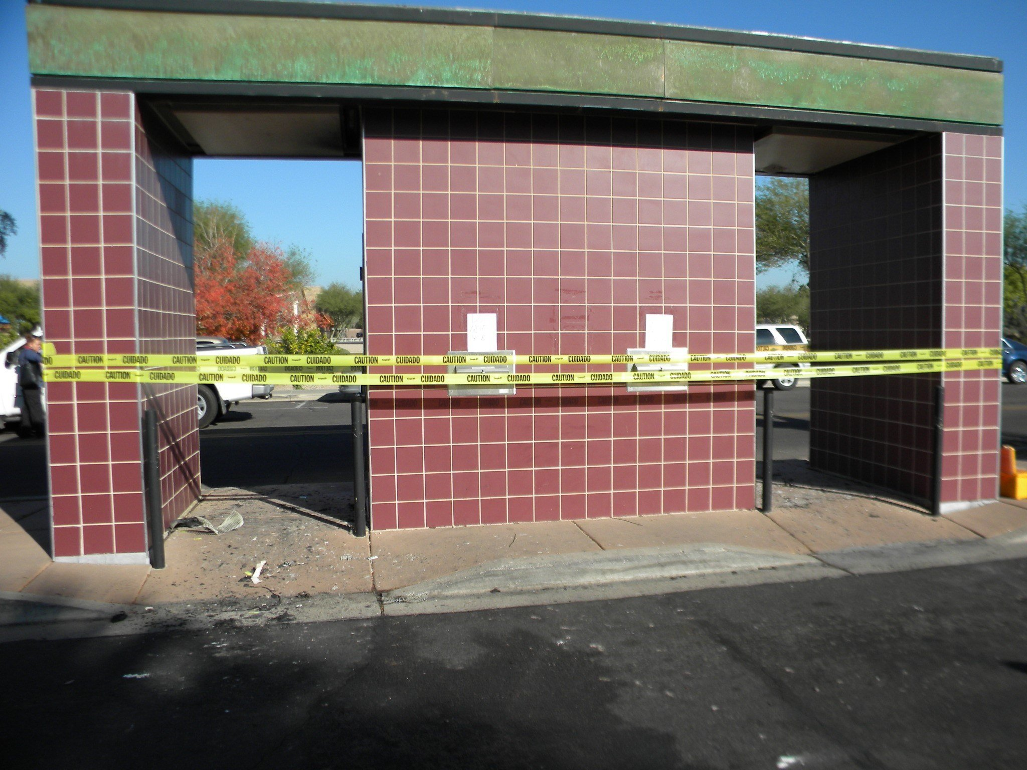 The book drop-off in front of the building was torched. at about 12:15 a.m. on Dec. 14 (Source: Glendale Police Dept.)