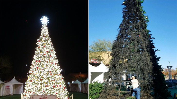 The City of Mesa was proud to announce the installation of a new Christmas tree at the Merry Main Street to replace the previous tree destroyed by a suspected arsonist last week. (Source: City of Mesa)
