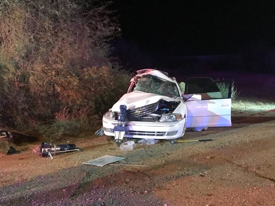 The accident involved five people with at least one ejection and one person requiring mechanical extrication to be freed from the wreckage. (Source: Superstition Fire and Medical District)