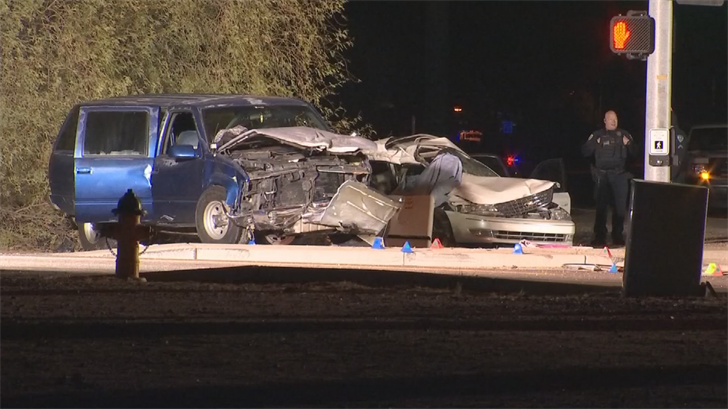A fatal crash has left three people dead and two seriously hurt in Apache Junction late Wednesday night, fire officials said. (Source: Superstition Fire and Medical District)
