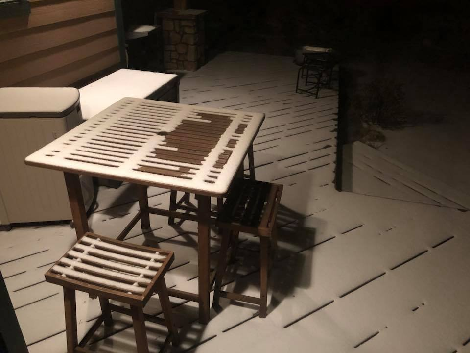Elise Moir Wilson sent us this picture of snow from her patio in Flagstaff. (Source: Elise Wilson/Facebook)
