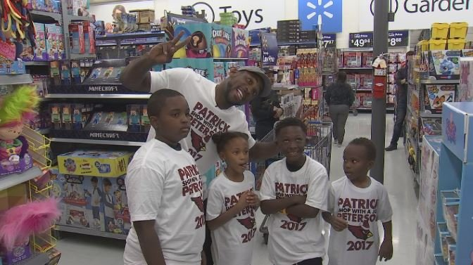 "Patrick Peterson loves his ""Shop With a Jock"" event because it allows him to be a kid again. (Source: 3TV/CBS 5)"