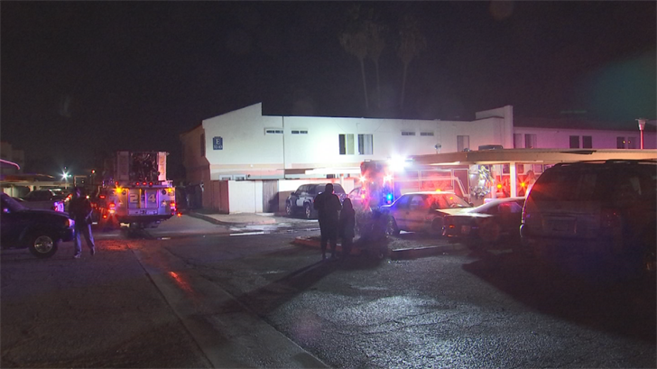 The fire broke out a little after 10:30 p.m. Sunday at a Phoenix apartment complex near 43rd Avenue and Indian School Road. (Source: 3TV/CBS 5)