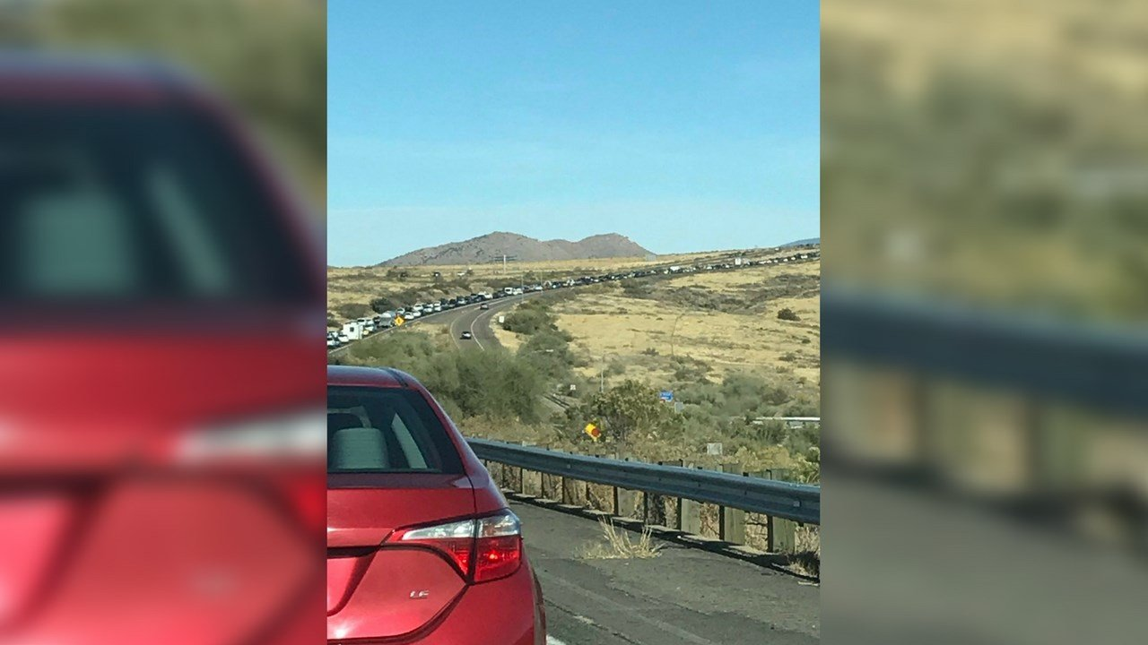 The rollover crash caused a traffic backup on Interstate 17 near Sunset Point Monday afternoon (Source: KAFF News/Twitter)
