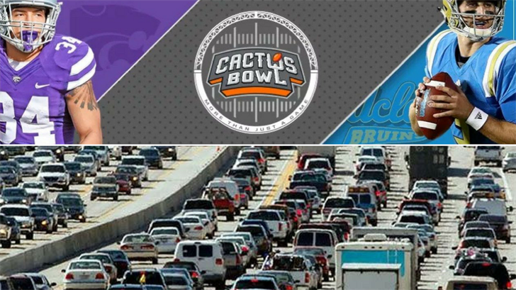 Traffic restrictions will be in place in downtown Phoenix when the UCLA Bruins take on the Kansas State Wildcats in the 2017 Cactus Bowl at Chase Field Tuesday night. (Source: Cactus Bowl/AP Images)