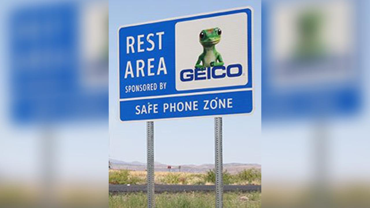 """Transportation officials in Arizona say they are teaming up again with GEICO to offer """"safe phone zones"""" for travelers along some of the state's highways. (Source: ADOT)"""